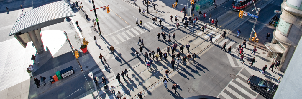 Image of a pedestrian scramble at Yonge and Dundas