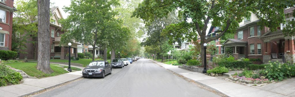 Image of temporary on-street parking on a residential street