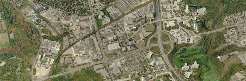 aerial view of the Don Mills Road and Eglinton Avenue East intersection
