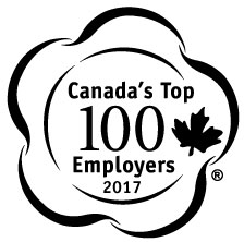 Canada's Top 100 Employers 2017 logo - black and white circle with maple leaf