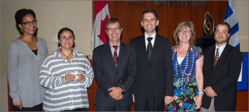 Leadership category award winners for the Gender Inclusive Washroom Policy & Campaign. From left to right: Nicole Welch, Jessica Abraham, Peter Wallace, Domenico Calla, Jann Houston and Dr. Howard Shapiro.