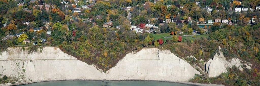 Aerial shot looking north at Scarborough Bluffs