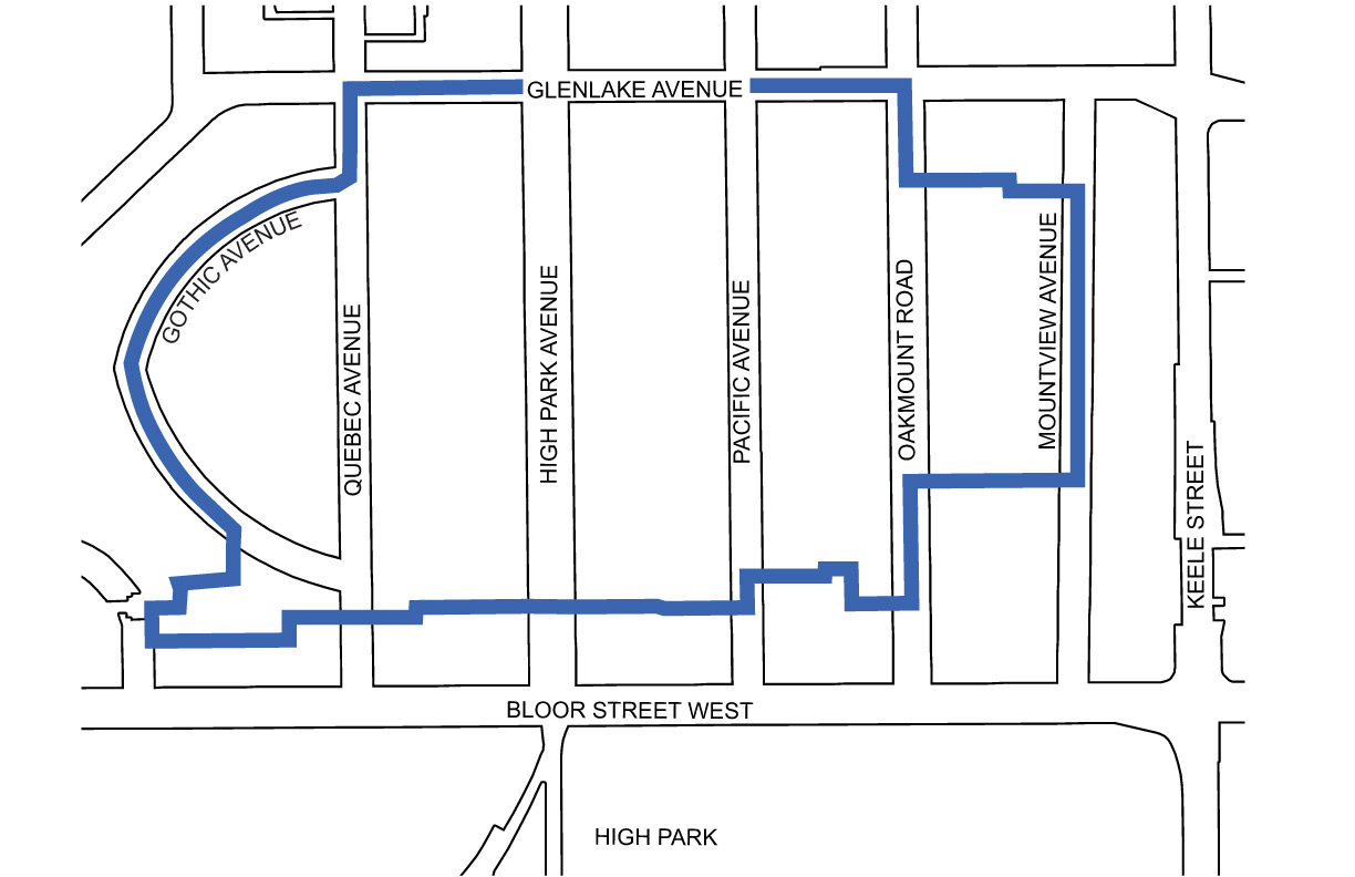 Map showing boundary of High Park Apartment Neighbourhood study area which includes streets and properties generally north of the Bloor Danforth Subway corridor, west of Keele Street, east of Gothic Avenue and south of Glenlake Avenue.