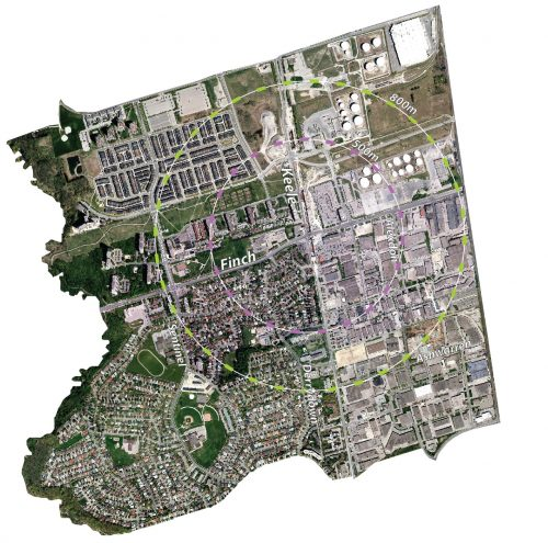 This aerial map around the Keele Street and Finch Avenue West area includes a 500 metre and 800 metre radius from the intersection. These radii are discussed in Provincial Policy documents, and in Metrolinx's Big Move (respectively), and help inform the future Study area (to be determined).