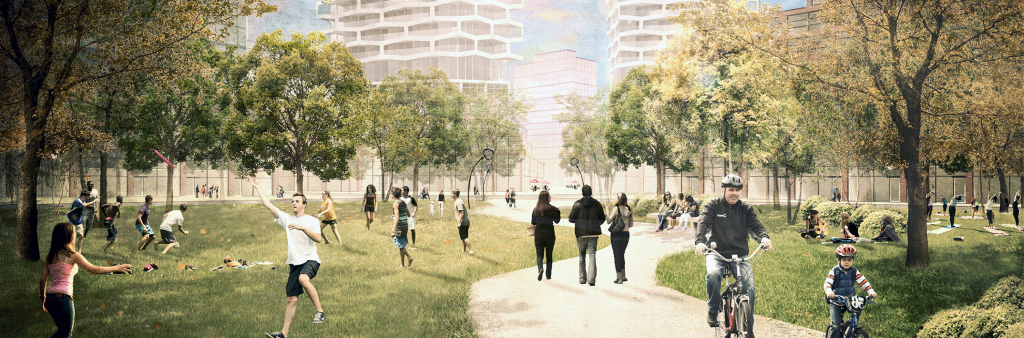Conceptual image of a park filled with people of all ages, trees, and buildings in the background