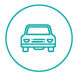 Turquoise Icon of a Car