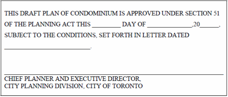 Draft Approval Certificate for Draft Plan of Condominium