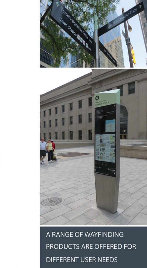 "Image of on-street finger post, and sign wit+h text stating that ""a range of wayfinding products are offered for different user needs."""