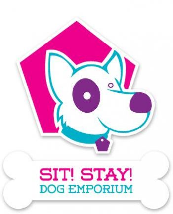 logo for Sit! Stay! Dog Emporium with illustrated dog and and bone