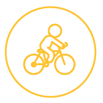 Yellow Icon of a cyclist