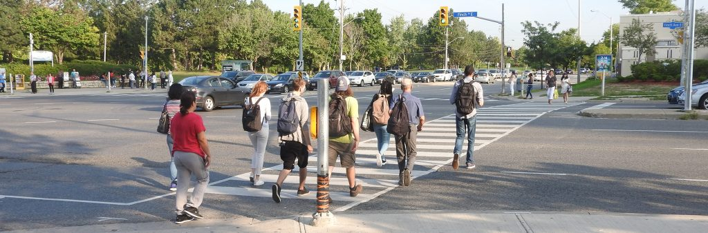 Image of people crossing at a Don Mills Intersection