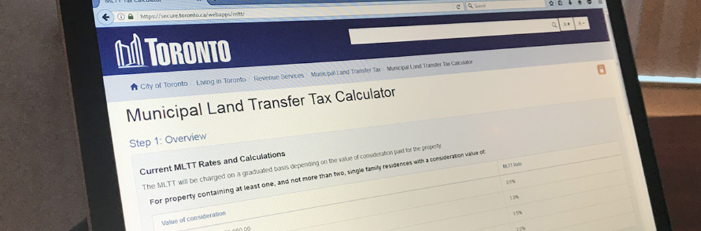 image of computer monitor displaying the Municipal Land Transfer Tax Calculator online tool.