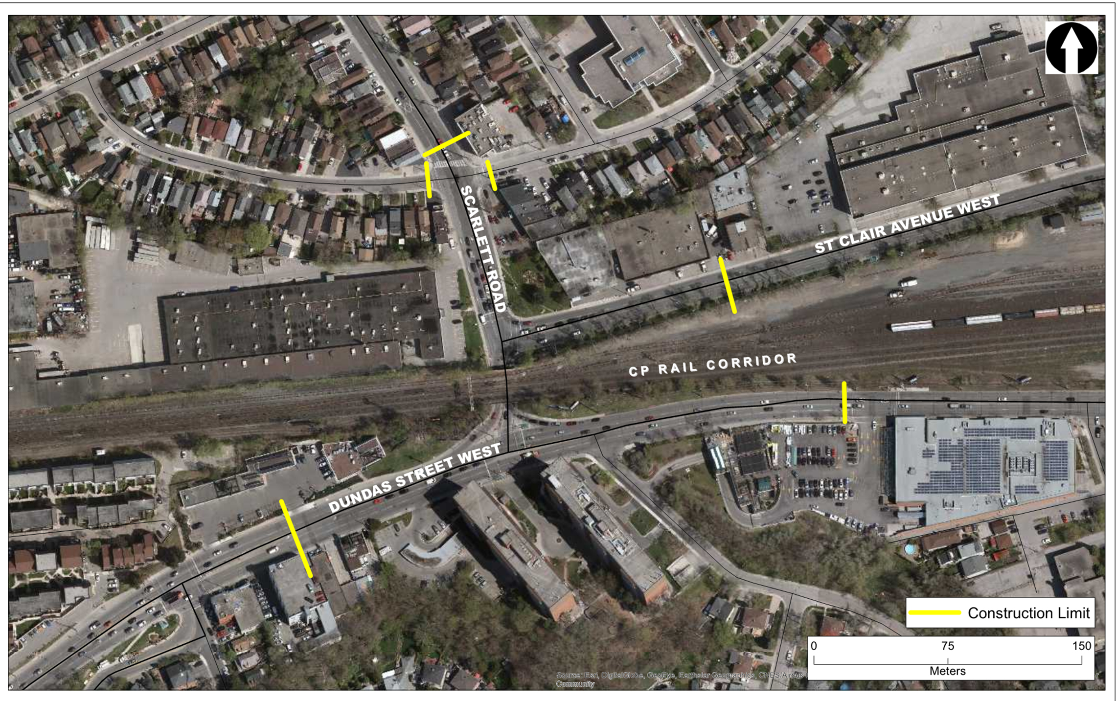 Work area is in the intersection of Dundas St W, Scarlett Road, and the CP rail corridor
