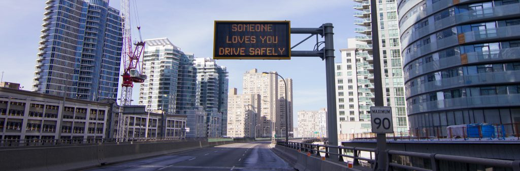 Image of a Variable Message Sign that says, someone loves you, drive slowly