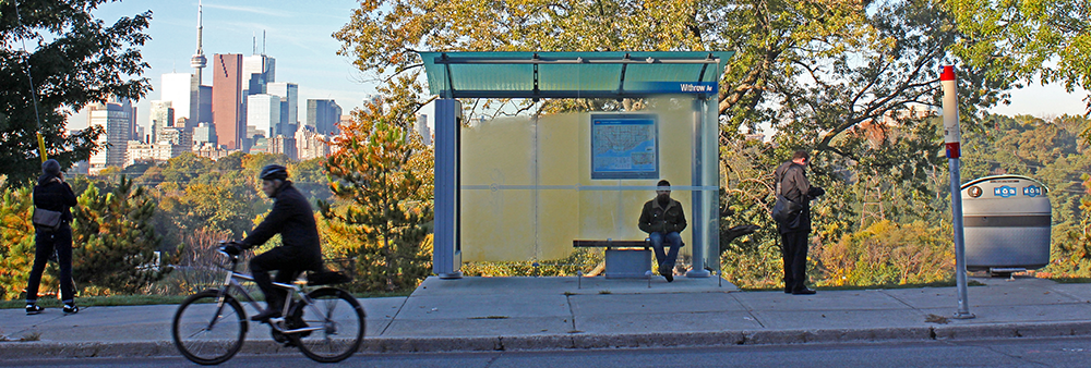 Image of a Transit Shelter and trash bin on Broadview Avenue