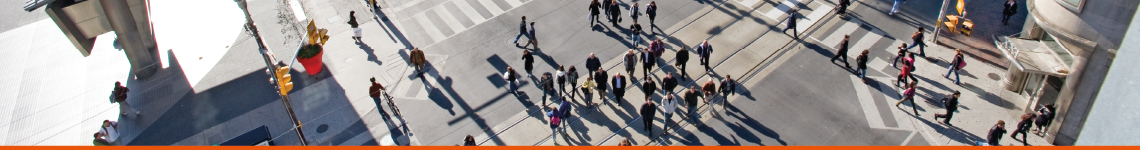 Bird's eye view of pedestrians crossing an intersection with a pedestrian priority phase