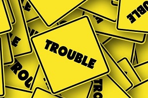 "Signs with the word ""Trouble"" on them"