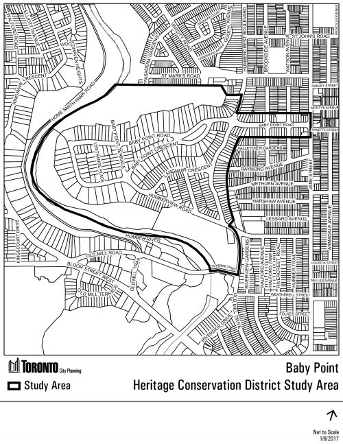 This is a map of the Baby Point heritage conservation district study area