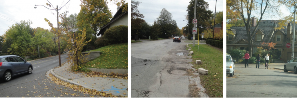 Lawrence Park images depicting damaged road needing repairs