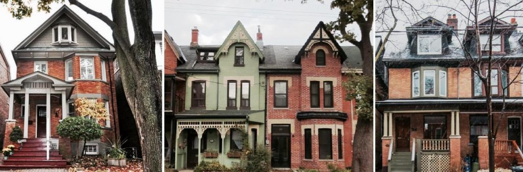 several different styles of Toronto houses