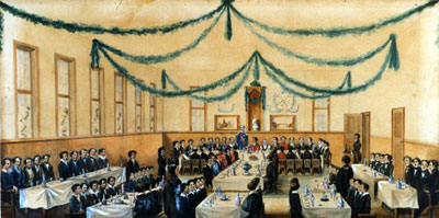 water coulour painting of a dining hall