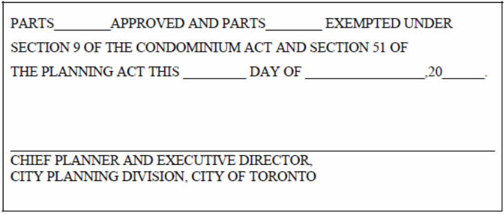 Final Approval Certificate for Draft Plan of Condominium