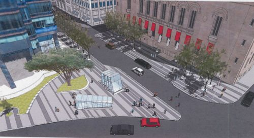Artist rendering of the street-level entrances to the Northwest PATH