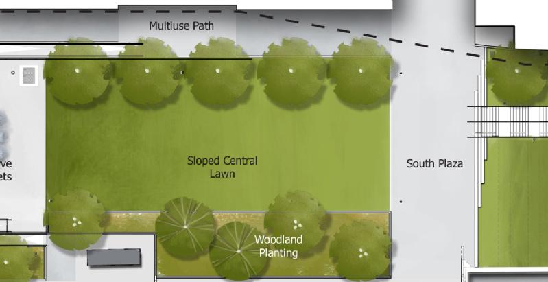 A map drawing of the central green area of the park.