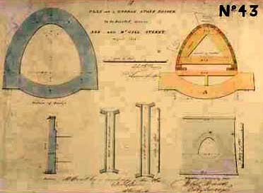 Architectural drawings of parts of a bridge