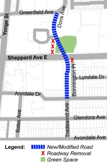 map of the study area along Doris Avenue between Greenfield Avenue and Anndale Drive.