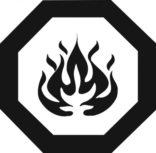 Universal flammable symbol of flames inside octagon