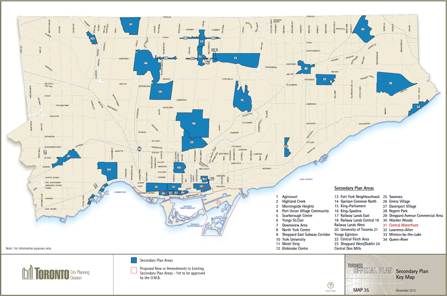 Map 35 – Secondary Plan Key Map: This map illustrates the location and boundary of the Secondary Plan Areas of the Toronto Official Plan and the proposed new or amendments to existing Secondary Plan Areas that are yet to be approved by the Ontario Municipal Board.