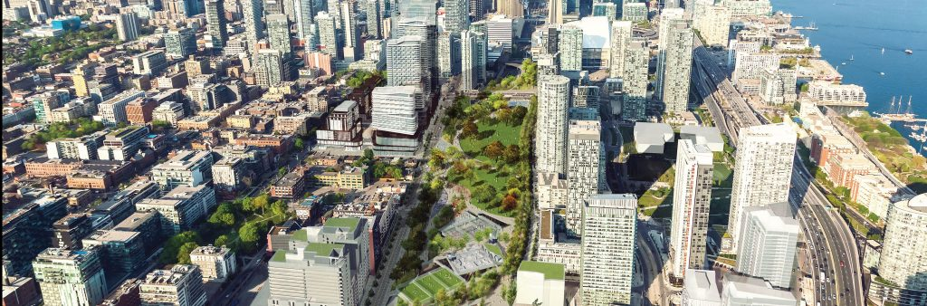 Conceptual rendering of Rail Deck Park showing a birds eye view of the site from Bathurst looking east towards the CN tower.