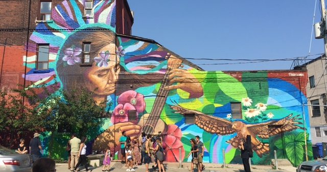 Image of street art piece on the west side Lula Lounge running south off of Dundas Street West. at Gladstone Avenue.
