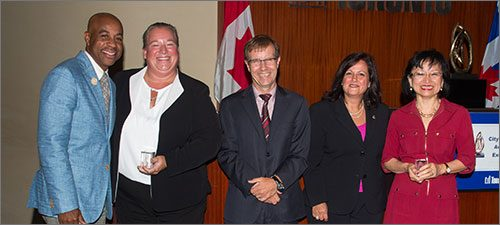 Innovation category award winners for the Embracing Disruptive Technology and the Sharing Economy: Implementation of new Vehicle-for-Hire Legislation and Technology project. Left to right: Rob Meikle, Tracey Cook, Peter Wallace, Annalisa Mignardi and Lan Nguyen.