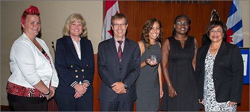 Employee experience category award winners for the Service Delivery Model Renewal project. Left to right: Lyndsay Bell, Tona Robis, Peter Wallace, Shari Kamali, Clara Ganemtore and Patricia Walcott.