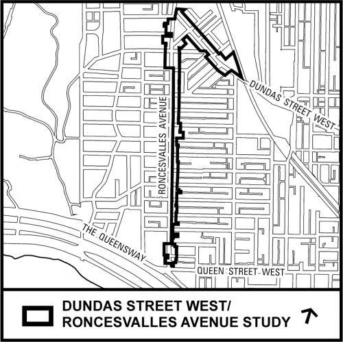 Map of the Roncesvalles and Dundas West Study Area