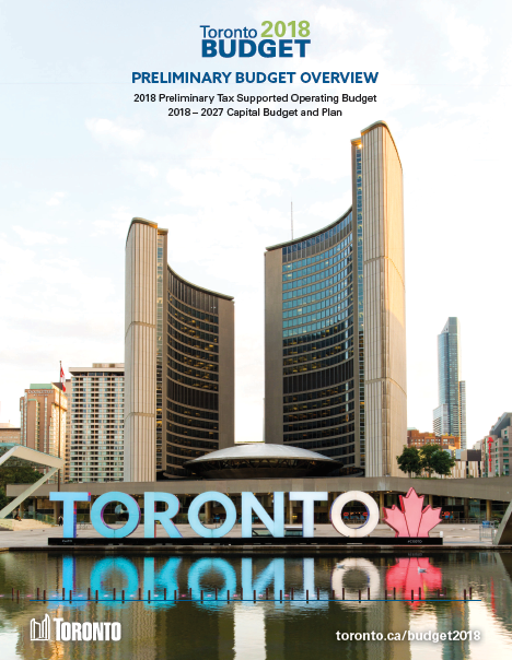 Budget Overview cover with image of City Hall and Toronto sign