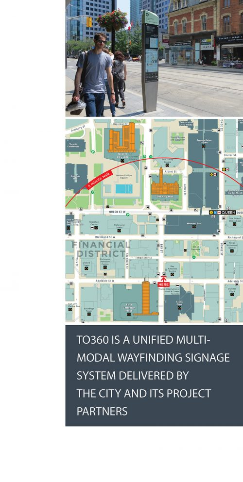 "Image of on-street wayfinding sign and map with text stating ""TO360 is a unified multi-modal wayfinding signage system delivered by the City and its project partners."""