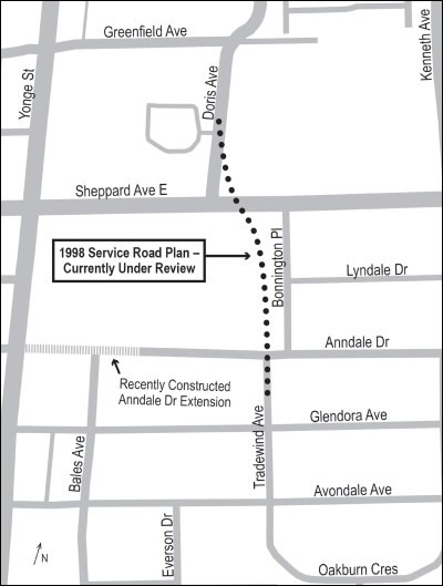 A map of the 1988 Service Road Plan along Tradewind Avenue