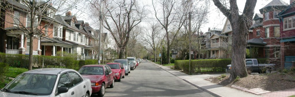Image of residential street with on-street parking