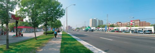 Eglinton Avenue East (near Brimley Road) is an example of an Emerging Main Street.