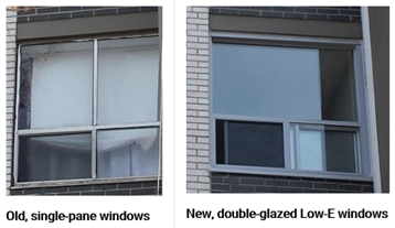 A comparison of old single-pane windows before retrofit and new double-glazed low-energy windows after retrofit.