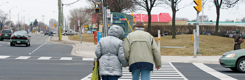 Image of Older adults crossing with a leading pedestrian interval