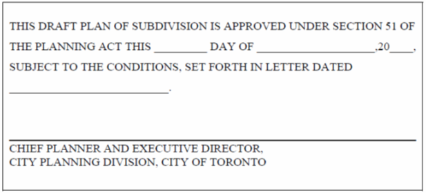 Draft Approval Certificate for Draft Plan of Subdivision