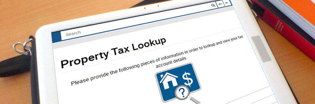 Property Tax Lookup app on tablet device