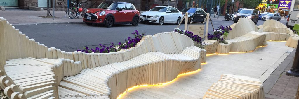 Parklet on Elm Street featuring a modern bench design