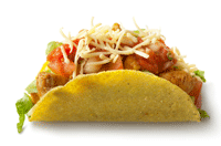 A single serving of chicken taco