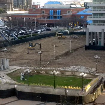 Almost aerial view of the west side of Albert Campbell Square (looking towards the YMCA) during construction for the expansion