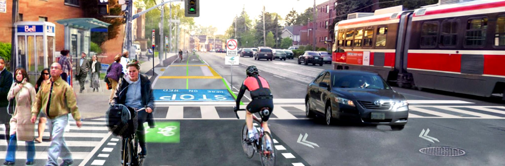 Rendering of track showing cyclists, car and streetcar travelling along the road. A group of pedestrians walk along the crosswalk.